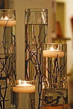 Candles and Twigs - For Modern Brides: 25 Fabulous Wedding Centerpieces Without Flowers - EverAfterGuide