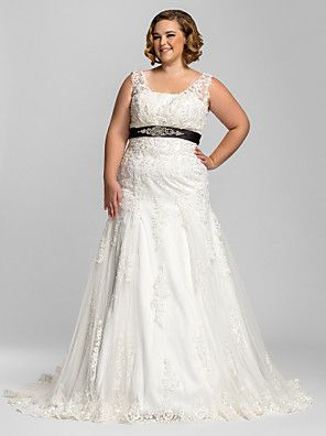 Lanting Bride® Trompete / Meerjungfrau Extraklein / Übergrößen Hochzeitskleid - Klassisch & Zeitlos / Glamurös & DramatischFarbige