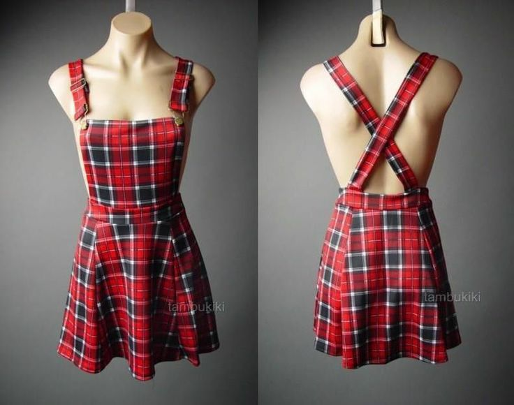 Red Plaid Suspender Pinafore Jumper 90s Grunge Punk Skater Skirt 71 ac Overall S