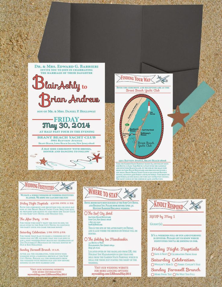 Pinspirational Projects: A Long Beach Island beach-themed wedding invitation suite