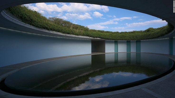The small island of Naoshima - Benesse House Oval, a six-room hotel accessible only by monorail.