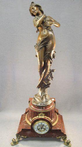 Henri GODET (1863-1937) bronze statue on a marble clock: Bronze Statues