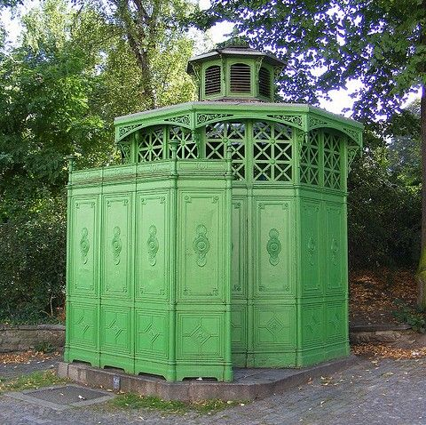 This 'pissoir' in Kreuzberg, Berlin, looks like a lovely place to retreat to if you're caught short wandering the streets, almost elegant in fact. Thanks sludgeulper.