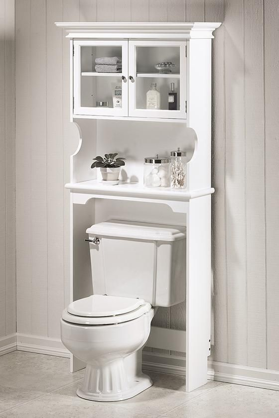 Make Photo Gallery Get all of your bathroom supplies organized with this Home Decorators Collection Hampton Bay Over the Toilet Storage Cabinet in Sequoia