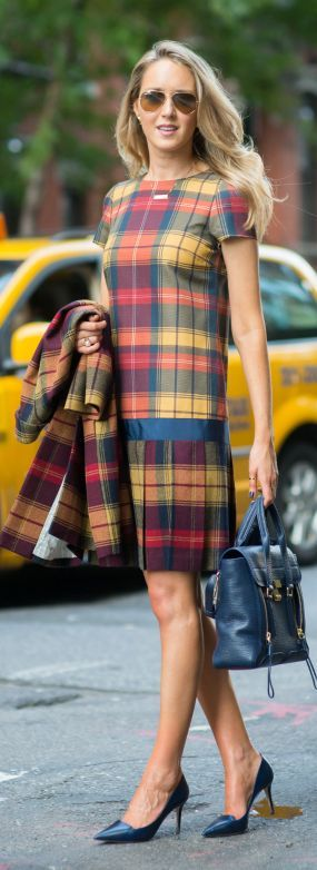 Black Fleece Gold Multi Tartan Drop Waist Mini Dress