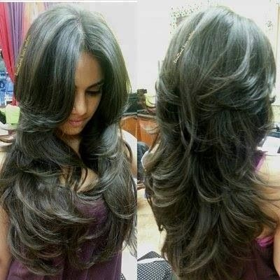 long hair layers back view - Google Search