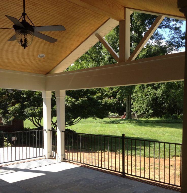 Pergola Off Of An Existing Covered Porch: Raleigh Covered Porch With Cathedral Ceiling