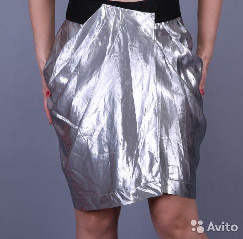 Max Mara стильная серебряная юбка. оригинал