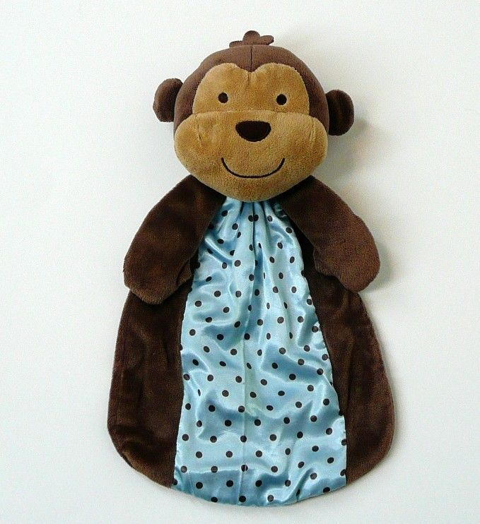 CARTER/'S SECURITY BLANKET MONKEY CAPTAIN ADORABLE PLANE CHILD OF MINE BLUE BROWN