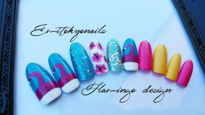 Flamingo,flamingo Nails,Hand painted false nails,Stiletto nails,Press on Nails