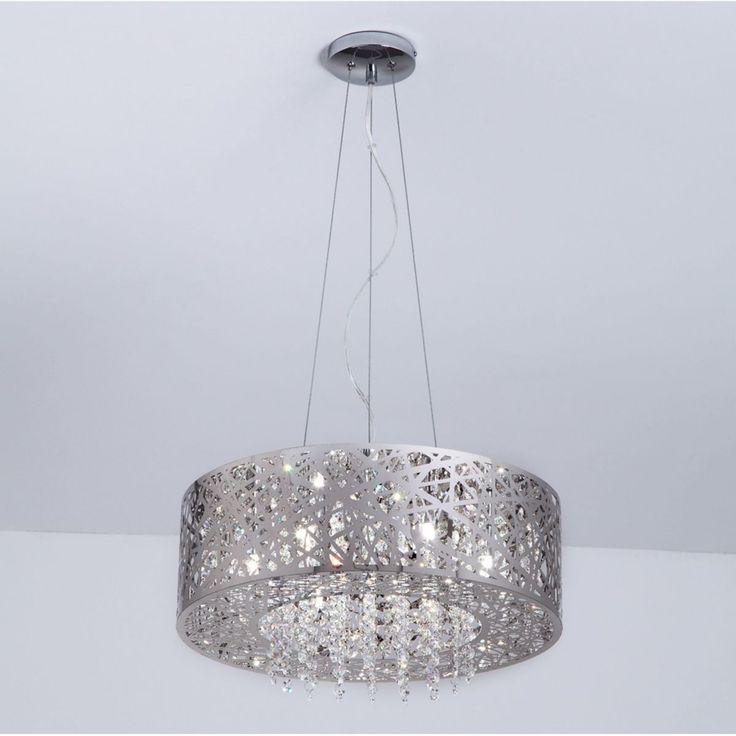 Lustre Pendente em Aço Inox Cromado e Cristal - 7 lâmpadas