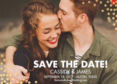Confetti Photo Save the Date Card - Horizontal