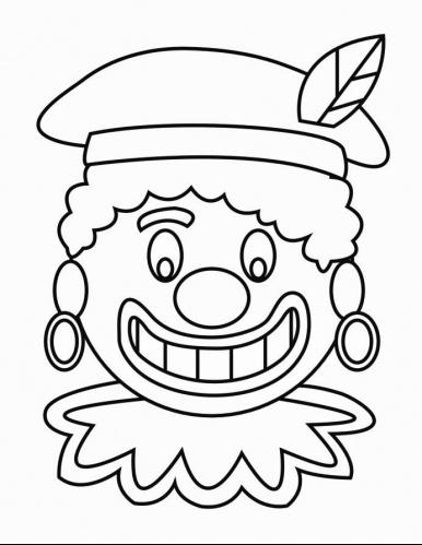 Kleurplaat Zwarte Piet gezicht