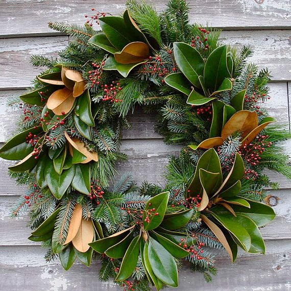 Southern Magnolia Wreath 24 inch by solidagowreaths on Etsy, $60.00