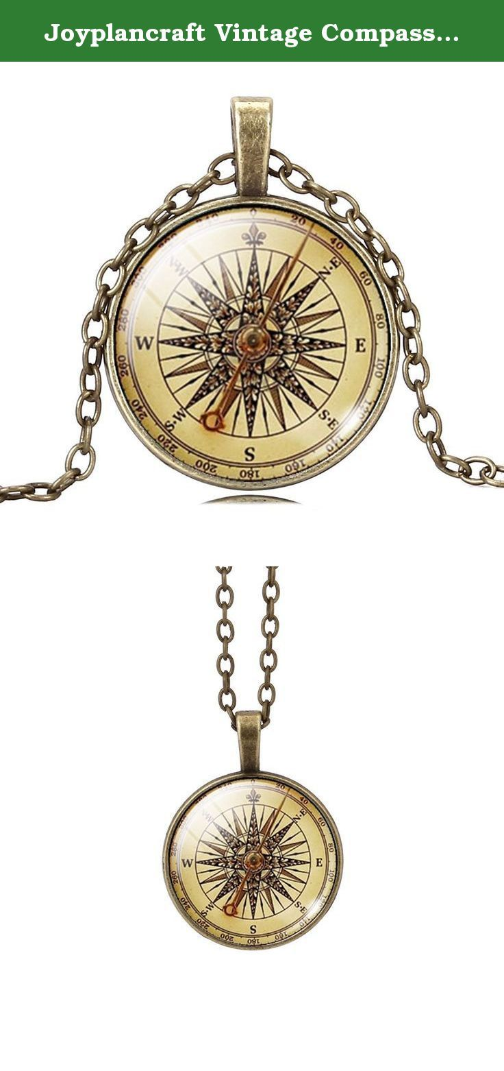 Joyplancraft Vintage Compass Picture Glass Dome Necklace Nautical Style Compass Necklace (Brass Style). This is necklace is unique and handmade, pls let me know if you want to do any change.