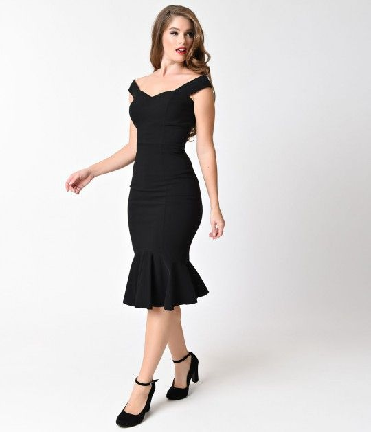 Josephine is a devastator, darlings! Taking bold cues from the sultry vintage dresses of the silver screen, Josephine is a captivating fishtail dress in vibrant black. This pliable stretch bengaline frock boasts an off shoulder paneled sweetheart bodice,