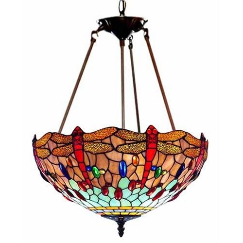 Tiffany Style Stained Glass Inverted Hanging Chandelier