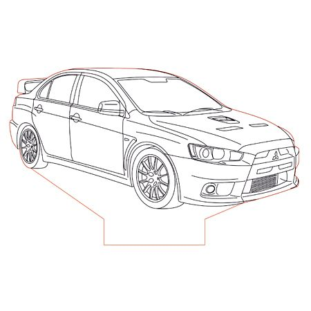 Mitsubishi Evo X set 3d illusion lamp plan vector file for