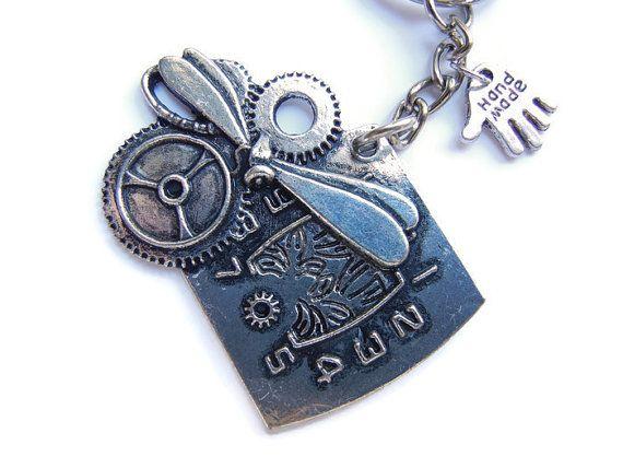 Steampunk keychain steampunk keyring clock keyring door EraOfCrea