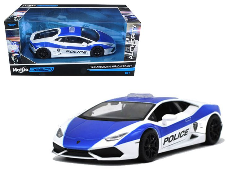 Lamborghini Huracan LP610-4 Police White and Blue 1/24 Diecast Model Car by Maisto - Brand new 1:24 scale diecast model car of Lamborghini Huracan LP610-4 Police White and Blue die cast car model by Maisto. Brand new box. Rubber tires. Made of diecast with some plastic parts. Detailed interior, exterior. Has opening doors and trunk. Dimensions approximately L-7.5, W-3.5, H-2.75 inches. Please note that manufacturer may change packing box at any time. Product will stay exactly the…