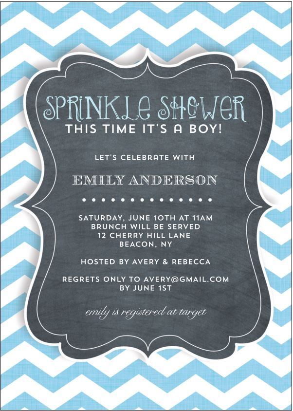 Baby Sprinkle Shower Invitation with blue and white chevron stripes and chalkboard lettering for second baby. Create your proof instantly. Use any wording.