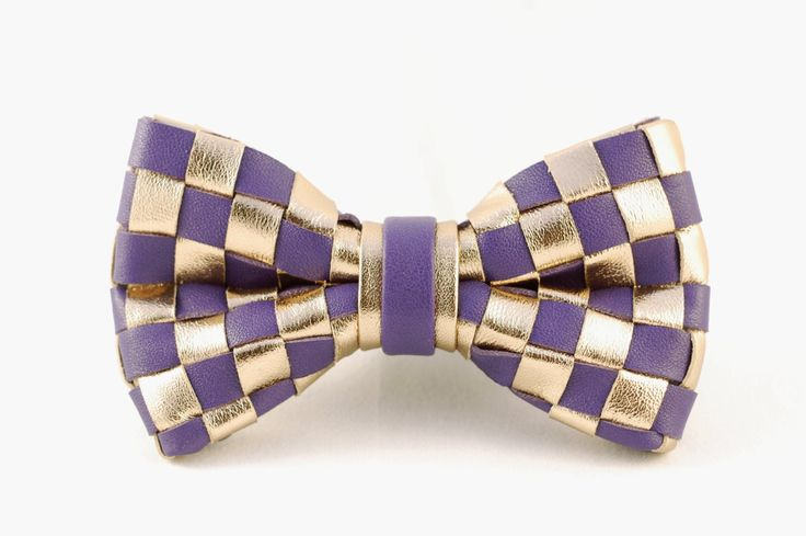 Rose gold and purple checkered bow tie by LimeG on Etsy