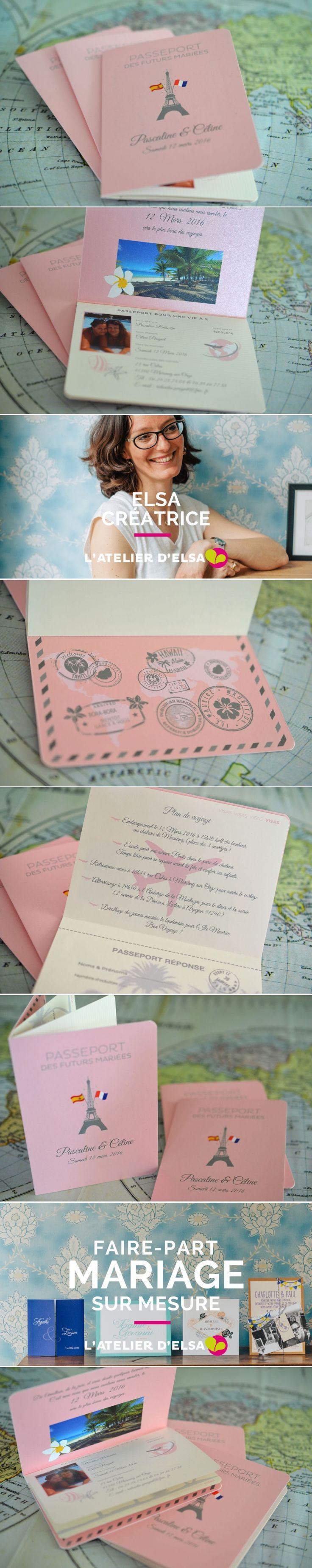 Faire-part Voyage Passeport Mariage • L'Atelier d'ElsaCréation sur mesure originale Haut de gamme #fairepart #mariage #faire-part #faire-partPasseport #fairepartVoyage