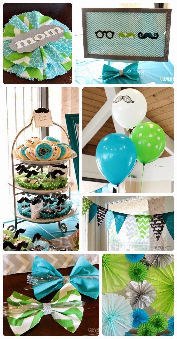 Little Man themed baby shower. Could also be a first birthday party. Lots of cute ideas at Clever Nest #aquagraylime #boysfirstbirthday