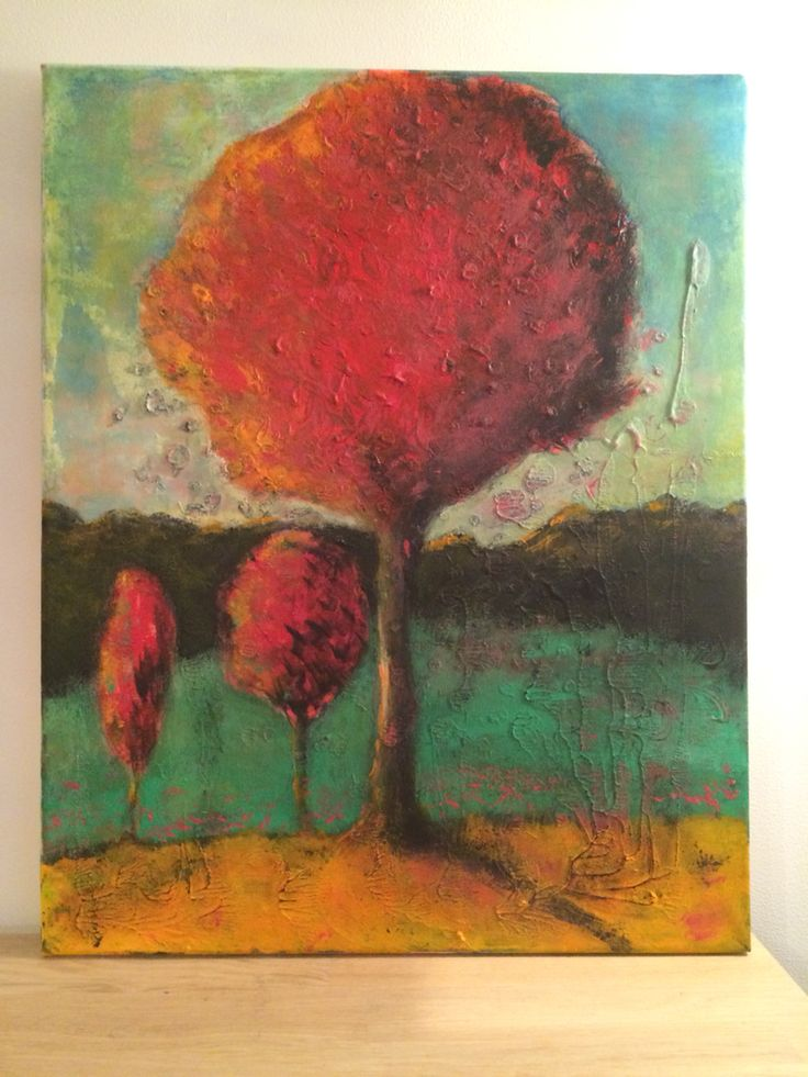Red tree painting acrylic on canvas