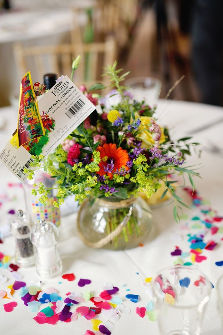 Fresh Fun Rainbow Garden Wedding Reception Table Decorationsrainbow