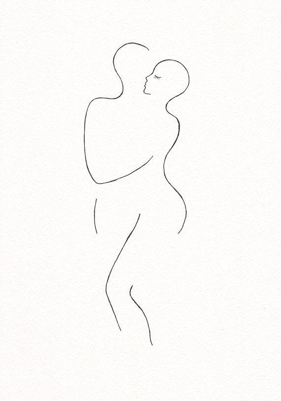 Minimalista dibujo de abrazo de amante a tinta. Dos por siret