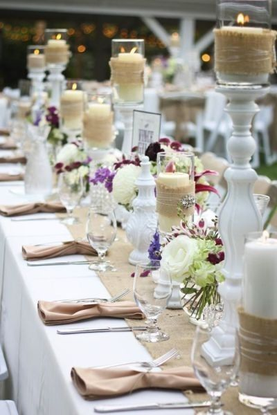 Wedding Shower Inspiration - Burlap and white candelsticks with purple flowers