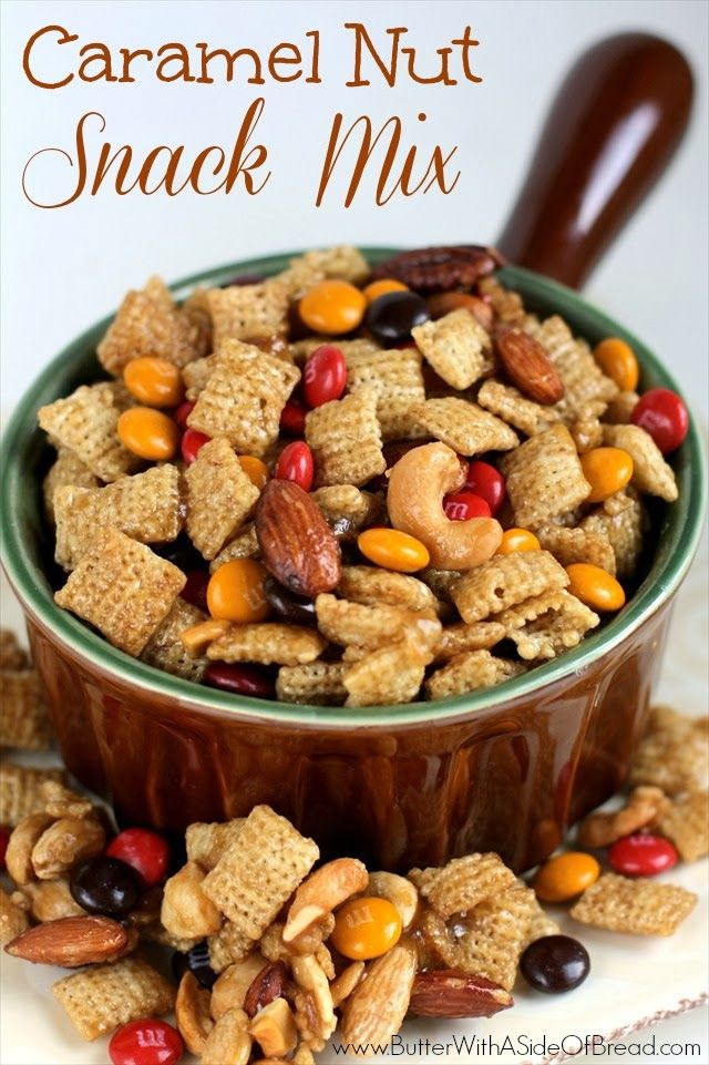 Caramel Nut Snack Mix - Butter With a Side of Bread #recipe