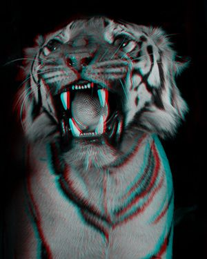 looks 3D when viewed through red-cyan glasses. from anaglyph: animal room.