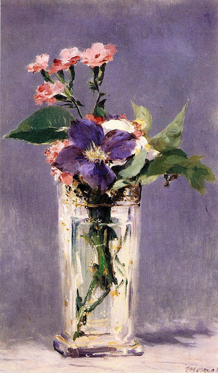 Flowers by post vase - Edouard Manet Pinks And Clematis In A Crystal Vase 1882