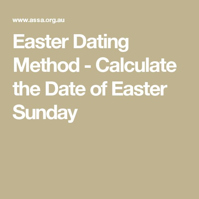 Easter Dating Method - Calculate the Date of Easter Sunday