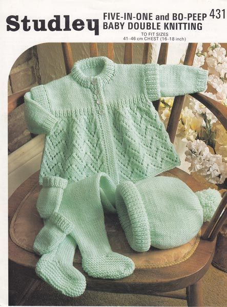 baby knitting pattern jacket and hat: