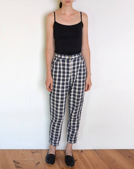 90's plaid trousers navy blue and white checked pants