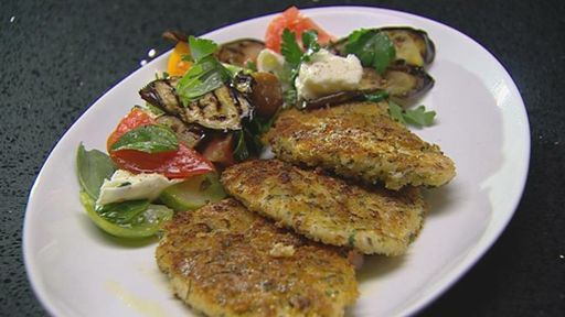 Chicken Schnitzel with Grilled Eggplant and Heirloom Tomato Salad