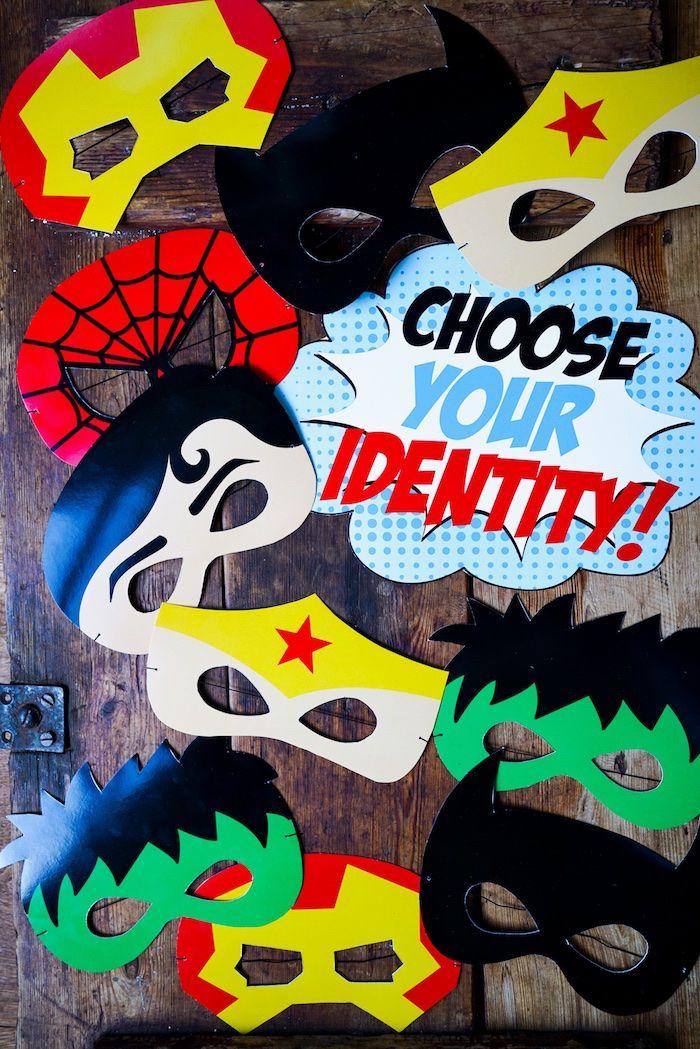 Superhero masks from a Superhero Birthday Party on Kara's Party Ideas | KarasPartyIdeas.com (6)