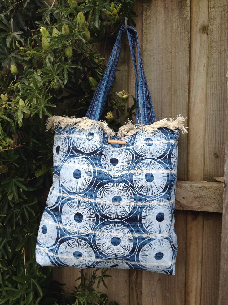 Screen print over patterned fabric handmade beach tote