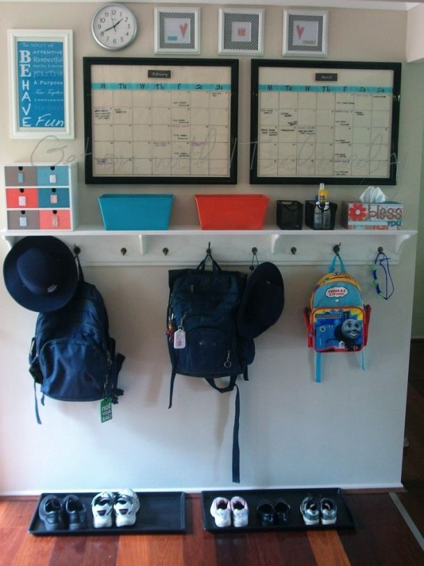 Wow!  Check out this Entry Command Centre / Launch Pad!!!  Includes step by step instructions for making the shelf/backpack holder!  Just turned my butler hallway into a launch area - and all I'm missing is the backpack hooks ... this might work.