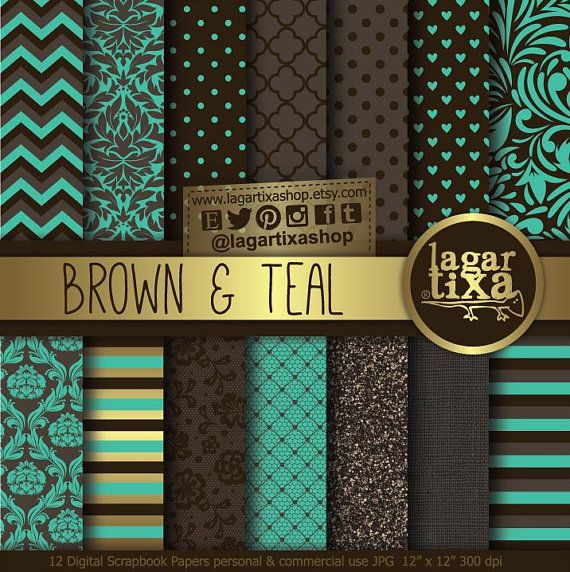 Digital Paper Brown Chocolate teal turquoise aqua Damask glitter lace chevron dots Background patterns Scrapbook Blog invitations cards