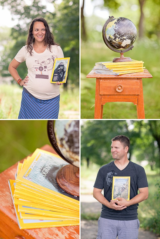 Future World Traveler Maternity Session | via onto baby {could do pre-baby & then newborn baby with the same globe}