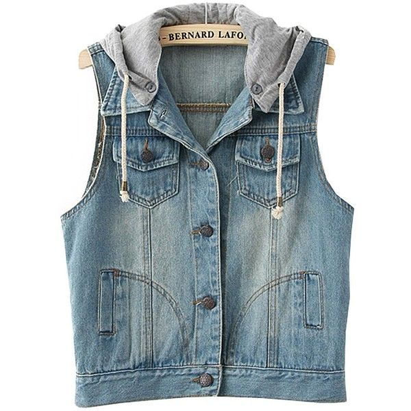 Amazon.com: Women Detachable Hood Jeans Vest Bleached Denim, Small,... ($19) ❤ liked on Polyvore featuring outerwear, vests, jackets, tops, light blue vest, vest waistcoat and blue vest