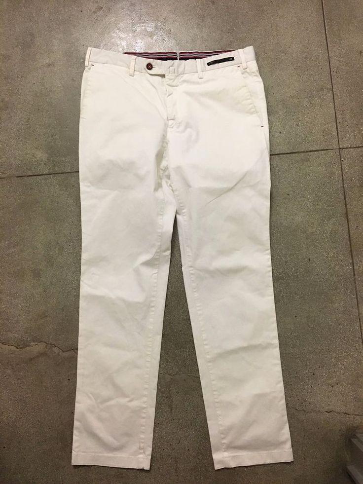 AUTH $395 PT01 'MASTER' STRETCH WHITE CHINO KHAKI PANTS SLIM SLACKS TROUSER 32  #PT01 #Chinos