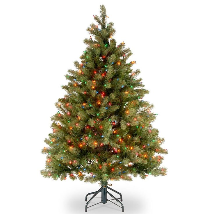 4.5-ft. Pre-Lit Multicolor ''Feel Real'' Downswept Douglas Fir Artificial Christmas Tree, Green