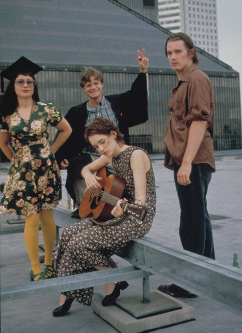 Janeane Garofalo, Steve Zahn, Winona Ryder and Ethan Hawke in Reality Bites, directed by Ben Stiller