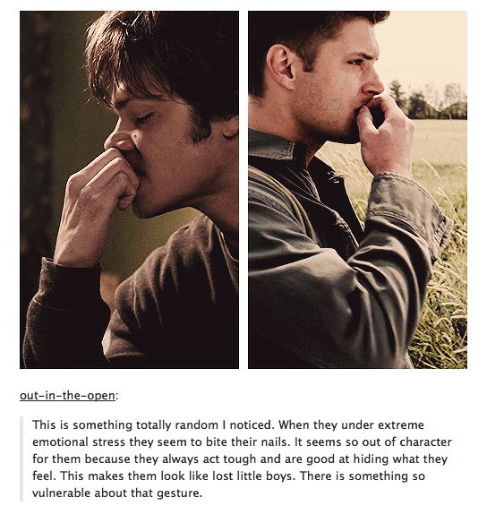 The Winchester boys under stress - biting their nails. Oh no.  Now I'm going to watch for that... Thanks for breaking me one more time!
