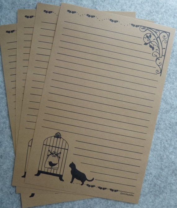 letter-paper / bird cage - brown. $3,99, via Etsy.